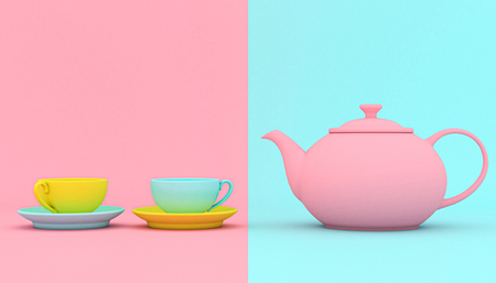 stylized teapot with cups on a colored background, color contrasts and shapes. 3d image render