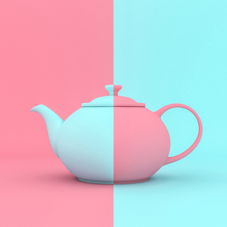 3d render image of a classic blue and pink teapot that contrasts with the background of the same color