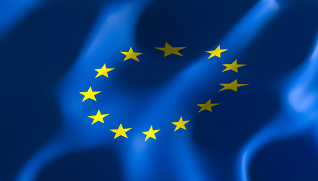 3d image render of a flag of the European nations