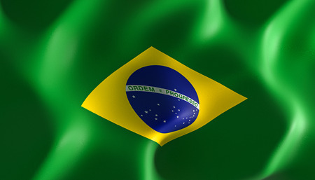 3d image render of a Brazilian flag.