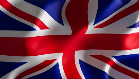 3d image render of a flag of great britain