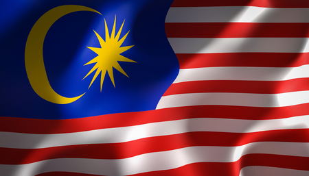 3d image render of a flag of malaysia Stok Fotoğraf