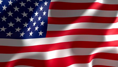 Representación de imágenes en 3D de una bandera de los Estados Unidos de América