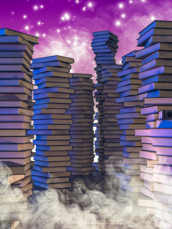 stacks of old books, smoke and magic sparkles, concept of fantasy reading, 3d image render.