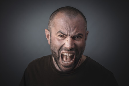 Portrait of angry man screaming. Concept of anger and stress. Stok Fotoğraf