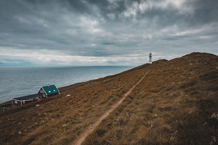 famous lighthouse on the island of Mykines, Faroe. Stok Fotoğraf