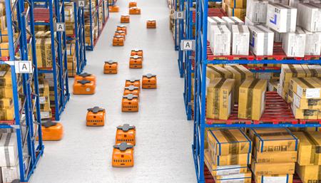 3d render image of drones moving inside a modern warehouse full of goods stored on shelves.
