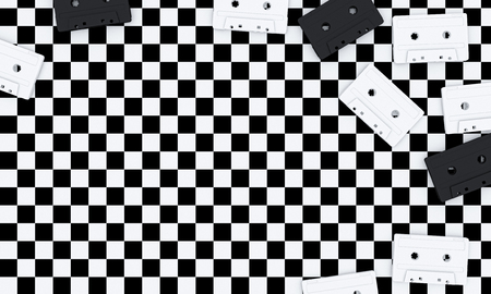 3d image of old audio cassettes on a black and white checkerboard background. rendering