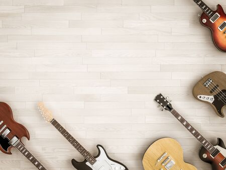 Group of differenty guitars seen from above in flat lay style on wood parquet. 3d image render. Stok Fotoğraf