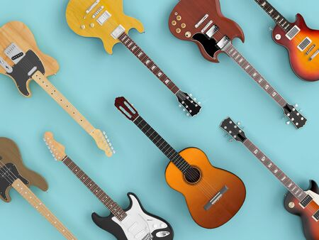 Group of differenty guitars seen from above in flat lay style. 3d image render. Stok Fotoğraf