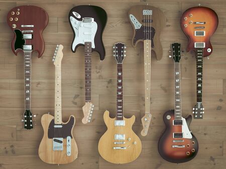 3d image render of a group of guitars on wooden floor, Style flat lay. Stok Fotoğraf