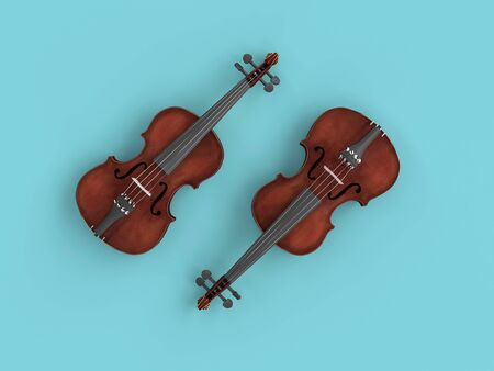 pair of violins on a blue background. 3d image render flat lay style.