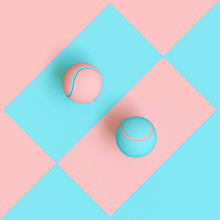 blue and pink tennis balls on a two-tone geometric background, flat lay style, 3d rendering. Concept of difference between sexes and uniqueness. Stockfoto - 126130516