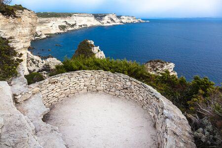 sea ??view from the coast of the city of Bonifacio in Corsica. France. Stock Photo