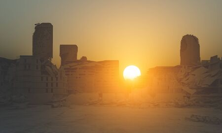 destroyed city at sunset, post apocalyptic landscape, 3d render image.
