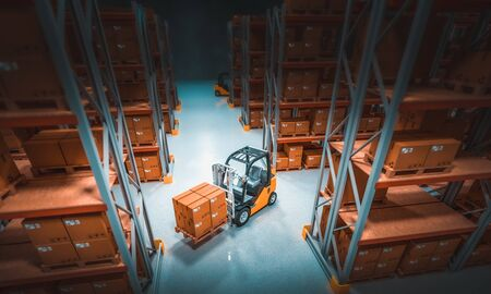 interior of a storage warehouse with shelves full of goods and forklifts in action. 3d image render. Foto de archivo - 132317853