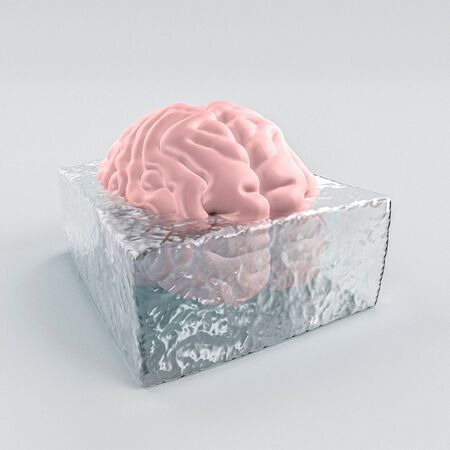 3d image of a human brain frozen in a block of ice. Concept of mental illness and little creativity.