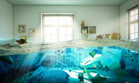 abstract image 3d render of a flooded bedroom full of toys floating in the water. Banque d'images