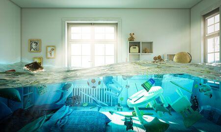 immagine astratta 3D rendering di una camera da letto allagata piena di giocattoli che galleggiano nell'acqua. Archivio Fotografico