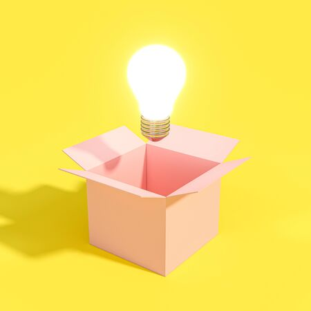 3d image of a lit light bulb coming out of an empty box. concept of idea and innovation.