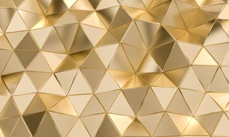 geometric pattern with triangular shapes in gold-colored metal. 3d image render
