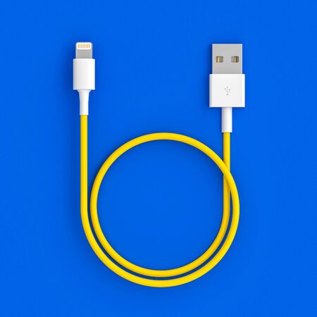 yellow usb cable on blue background, 3d image render in flat lay style. Connection concept.