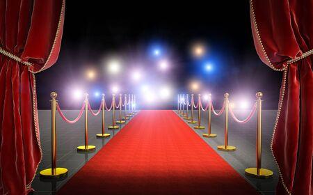 3d render obrazu czerwonego dywanu z aksamitnymi zasłonami i lampą błyskową w tle. Pojęcie celebryty i ekskluzywności.