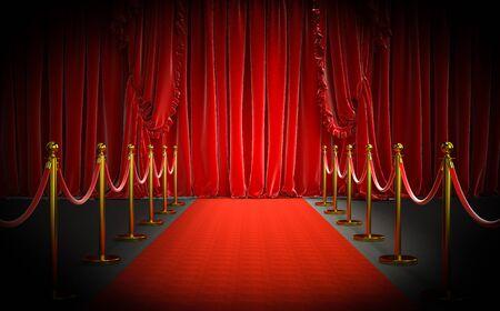rode loper en gouden barrières met rood touw en grote gordijnen bij de ingang. concept van luxe en exclusiviteit. 3D-beeldweergave
