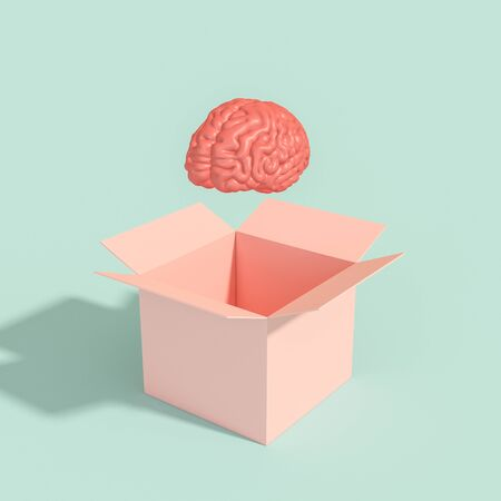 human brain coming out of a box. innovative and different thinking concept. 3d render.