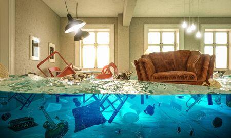 salon inondé de chaise flottante et personne au dessus. Concept de problèmes domestiques. rendu d'image 3D.