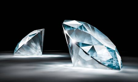 3d image of a pair of diamonds with a black background. 3d render 스톡 콘텐츠
