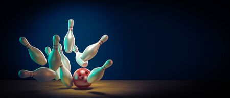 concept of fun and sport. Bowling ball hits the pins by doing a strike. 3d render image. 스톡 콘텐츠