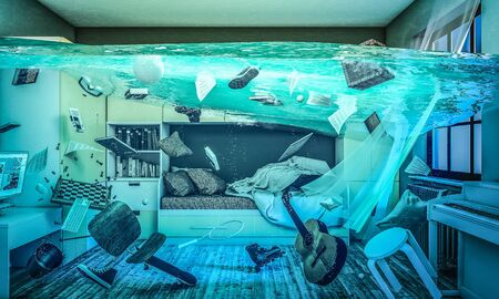 completely flooded childrens room, floating objects. 3D rendered image. 스톡 콘텐츠