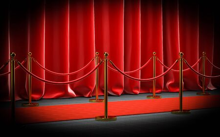3d image render of a red cap with velvet barriers and cords and curtains. concept of exclusivity. 스톡 콘텐츠