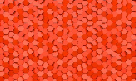 geometric background with hexagonal coral-colored figures. 3d image render.