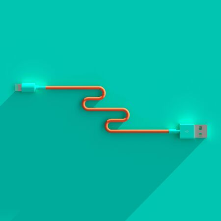 flat lay usb connection cable with long shadow turquoise and coral colors 3d image render.
