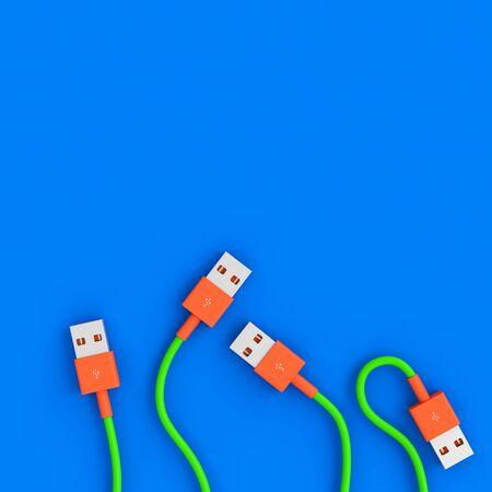3d render image of a series of usb cables in a flat lay style. connection concept.