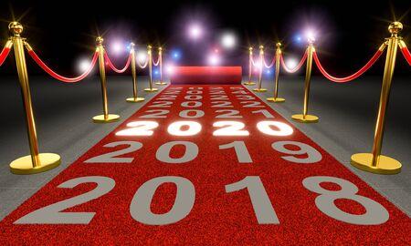 alfombra roja y barreras con cordón, escrito 2020 luminoso y flash de paparazzi. Concepto de año nuevo. Render 3d Foto de archivo