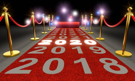 red carpet and barriers with cordon, written 2020 luminous and paparazzi flash. New year concept. 3d render