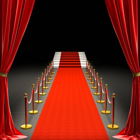 3d image of a red carpet and a staircase. barriers with rope and satin curtains. concept of exclusivity. 免版税图像
