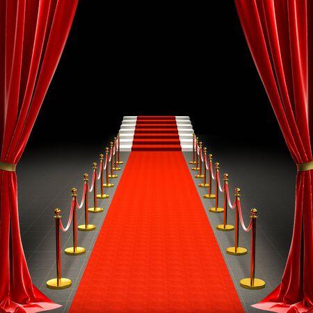 Immagine 3d di un tappeto rosso e di una scala. transenne con corda e tende in raso. concetto di esclusività.