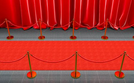 detail of a red carpet with curtains and gold barriers with velvet cord. 3d image render. concept of exclusivity.