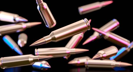3d image of bullets of a 7.62 caliber assault rifle. 스톡 콘텐츠