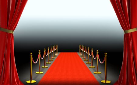 Red curtains and carpet with barriers and satin cord. 스톡 콘텐츠
