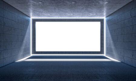 3d rendering image of empty concrete room white fram in center 스톡 콘텐츠