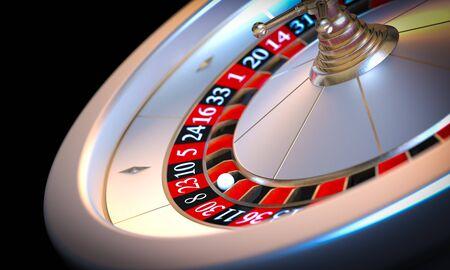 metallic roulette 3d render background on black.