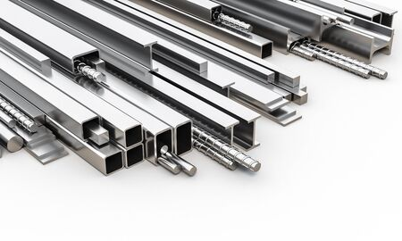 metal profiles of different sizes and shapes. manufacturing and heavy industry concept. 3d render. 스톡 콘텐츠