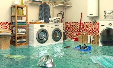 Imagen de render 3D de un interior de una lavandería inundada. Concepto de problemas en el hogar.