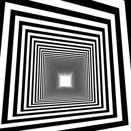 3d image of an abstract tunnel with diagonal black and white stripes, optical illusion.