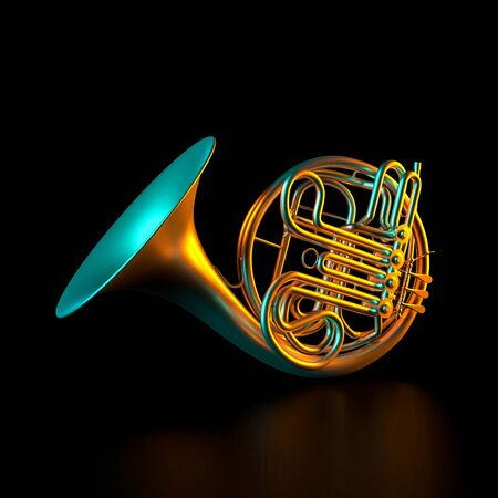 metal horn on a black background and colored lights. 3d render image. classical music and entertainment concept. 스톡 콘텐츠